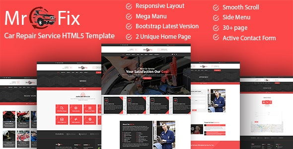 Mr Fix Car Repair Service HTML5 Template latest version download