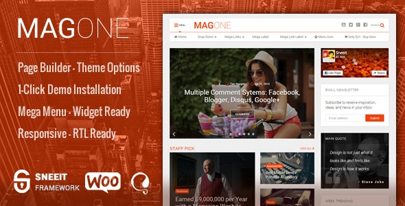 MagOne Responsive Magazine & News WordPress Theme