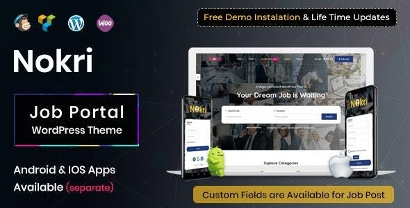Nokri Job Board WordPress Theme latest version download