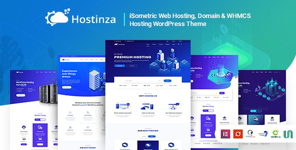Hostinza Isometric Domain & Whmcs Web Hosting WordPress Theme