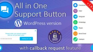 All in One Support Button + Callback Request WhatsApp Messenger Telegram LiveChat