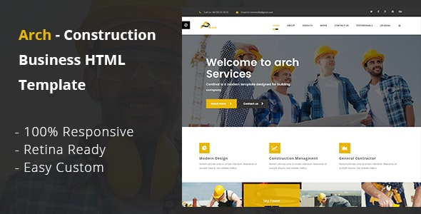 Arch Construction Building And Business HTML Template