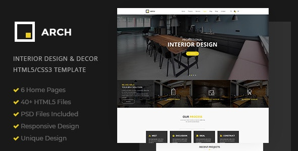 Arch Interior Design and Decor HTML5 Template