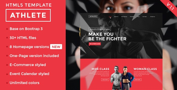 Athlete Fitness Gym and Sport HTML template