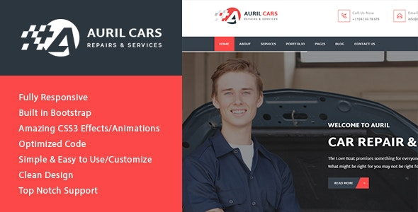 Auril Car Mechanic Workshop HTML Template