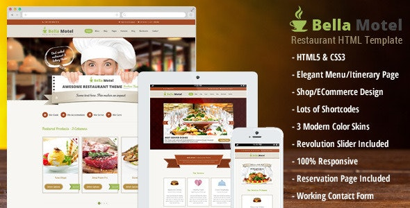 BellaMotel Food Restaurant Recipe HTML