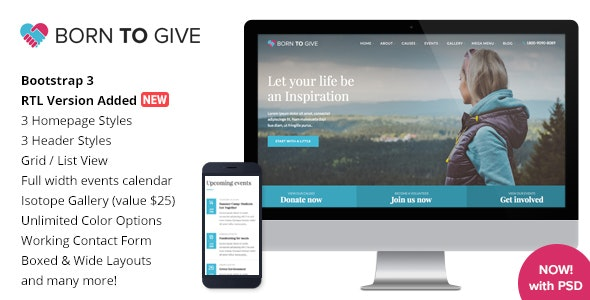 Born To Give Charity Crowdfunding Responsive HTML5 Template