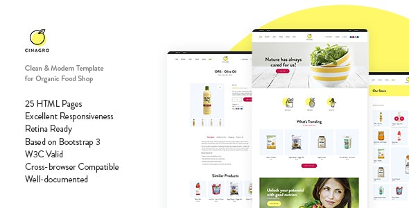 Cinagro Organic Food Shop HTML Template