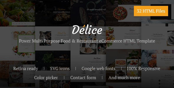 Delice Power Multi Purpose Food & Restaurant eCommerce HTML Template