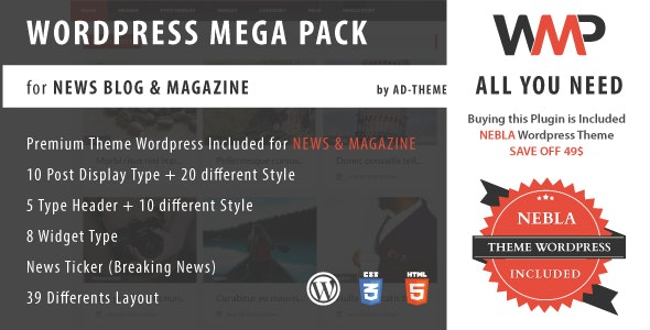 WP Mega Pack for New, Blog and Magazine All you need