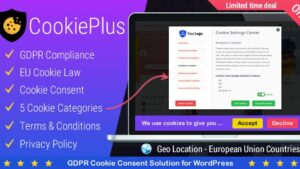Cookie Plus GDPR GDPR Cookie Consent Solution for WordPress