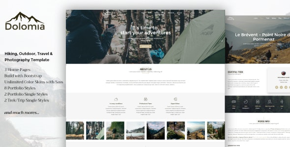 Dolomia Hiking Outdoor Mountain Guide HTML Template