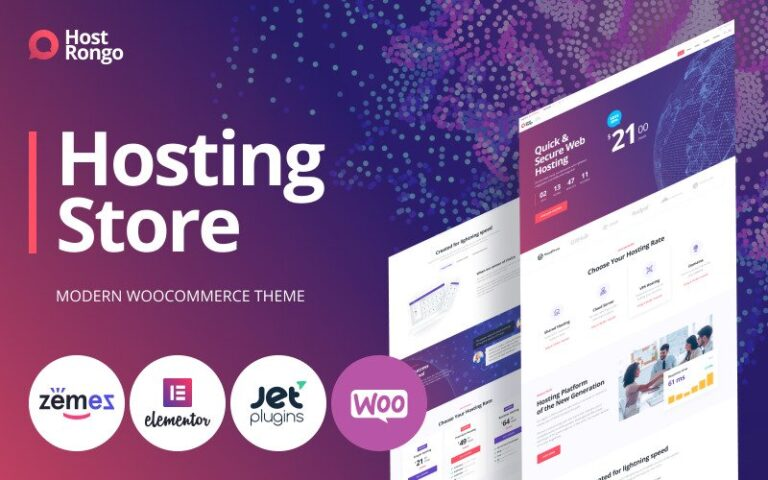 Host Rongo Hosting Store ECommerce Modern Elementor WooCommerce Theme