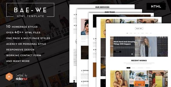 Baewe Responsive One & Multi Page Portfolio HTML Template