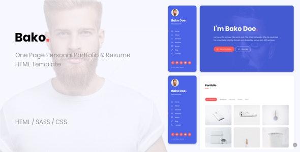 Bako Personal Portfolio & Resume HTML Template