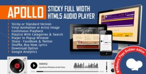 Apollo Sticky Full Width HTML5 Audio Player for WPBakery Page Builder